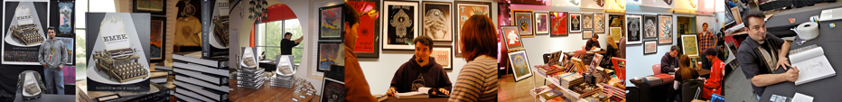 Image collage of emek at various galleries...  on a signing tour